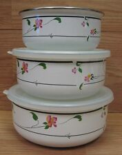 Set of 3 Savoir Vivre (UN459) Spring Fantasy Metal Bowls & Lids **READ**