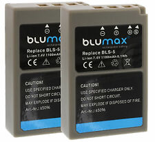 2x Blumax Akku BLS-5 BLS-50 1100mAh für Olympus OM-D E-M10 , OM-D E-M10 Mark II