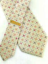 "BVLGARI Mens Tie 100% Silk 7 Fold Necktie 60"" Pizzigoni Beige Tan Geometric"