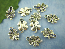 10 Silver LUCKY 4-LEAF CLOVER Pendant Charms 15mm x 11mm chs0753