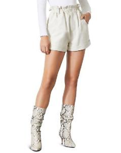 GRLFRND Shea Leather Paperbag Short M White Elastic Waist Cuffed Hem Womens New