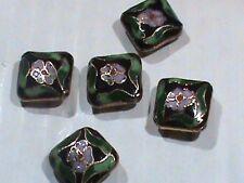 Vintage Cloisonne Black w FLowers Fat Diamond Beads 16 MM NOS 30 Pc