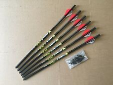 """QUILL CROSSBOW BOLTS FOR EXCALIBUR CROSSBOWS 1/2 DOZ 16.75"""" FLAT NOCK CARBON"""