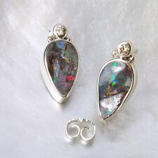 Boulder Opal Ohrring, 925er Silber, Edelstein Ohrring (875), mit Brillant