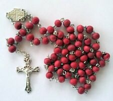 Red Catholic Rose Scented Christian Rosary Wood Bead Necklace With Cross Pendant