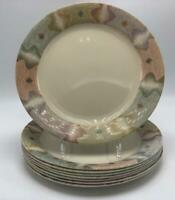 "Mirage Corelle by Corning 8 Salad Plates 7-1/4"" Beige w/ Multi-color Rim USA"