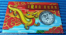 2012 Singapore Lunar Year of the Dragon 20 gm 999 Fine Silver BU Medallion