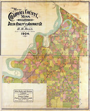1904 Farm Line Map of Coahoma County Mississippi Clarksdale