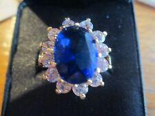 FASHION TARA VANESSA COCKTAIL RING SIZE 11? 12? ORIGINAL BOX--BLUE WITH RHINESTO