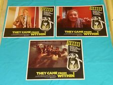 original THEY CAME FROM WITHIN lobby card lot x3 David Cronenberg Barbara Steele