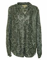 Michael Kors Women's V Neck Long Sleeve Floral Shimmer Stripe Blouse Gray Black