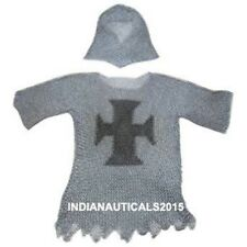 Legendary Templar Cross Chainmail Haubergeon Butted Shirt With Coif For Battle