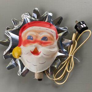 Vintage Lighted Christmas Tree Topper Celluloid Santa Claus Aluminum