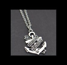 """NEW - """"MY DOG KEEPS ME ANCHORED"""" ANCHOR CHARM SILVER PLATED PENDANT NECKLACE"""
