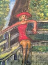 Great Oil On Board Mid Century Signed Original Blonde Woman In Red Lake