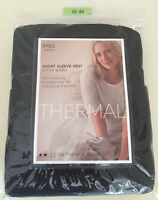 BNWT  M&S 2 Pack BLACK THERMAL SHORT SLEEVE VESTS TOP size 12-14