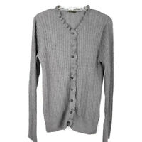 Eddie Bauer womens M cardigan gray ruffle edge small cable sweater long sleeve
