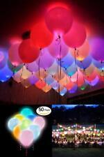 50 LED Light Up Balloons Flashing Glow Dark Party Birthday Colors Luminous Neon