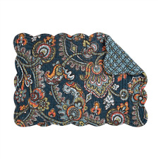 Middleton Quilted Reversible Placemat by C&F -  Navy, Blue, Green, Coral, Gold