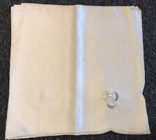 """12 PCS  Embroidered Embroidery Dinner Cloth 16x16"""" Napkins Ivory Daisy Flower"""