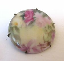 Antique Victorian Porcelain Brooch Hand Painted Roses