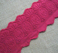 3'' Wide Vintage Embroidered Eyelet Cotton Blend Lace Trim Red b0083