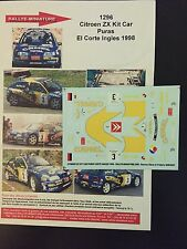 DECALS 1/43 CITROEN ZX KIT CAR JESUS PURAS RALLYE CORTE INGLES 1998 RALLY WRC