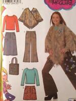 Simplicity Sewing Pattern 4897 Girls Pant Skirt Ponchos Tops Bag Size 8-16 UC