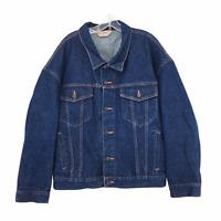 Vintage BIG MAC JC Penney Denim Jacket Size XXL Dark Blue Wash Button Front