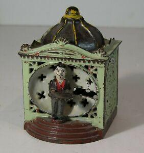 1870s CAST IRON MECHANICAL BANK - HALLS LILIPUT BANK IN FANTASTIC ORIGINAL PAINT