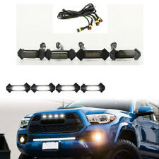 4X Smoke Front Grille White LED Lights for 16-up Toyota Tacoma w/TRD Pro Grill