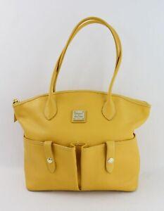 Dooney & Bourke Women's Yellow Leather Crescent Shoulder Bag Tote