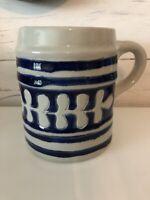 Williamsburg Pottery Salt Glaze Signed Mug Tankard Cobalt Blue Gray Oak Leaf