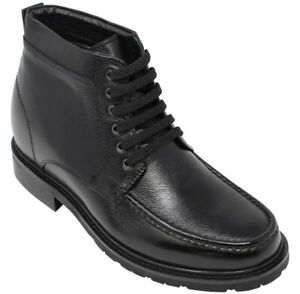 CALTO T92002 - 3.2 Inches Height Increase Unnoticeable Leather Ankle Boots Black