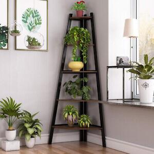 5 Tier Plant Flower Pot Stand Corner Storage Display Ladder Shelf Rack Bookshelf