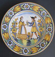 """Spanish Ceramica C Camara Large 16.5"""" Romantic Couple Floral Decorative Platter"""