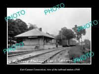 OLD LARGE HISTORIC PHOTO OF EAST CANAAN CONNECTICUT THE RAILROAD DEPOT c1940