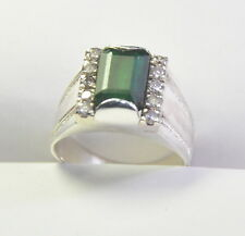 3.96 Ct Natural Green Emerald Cubic Zirconia 92.5 S Silver Designer Ring For Men