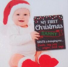 "xmas chalkboard Baby's first  12"" x 9"" to be personalized by you! NEW is BOX"