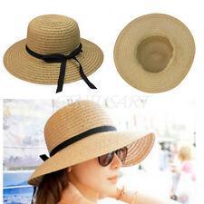 Vogue Women Brim Summer Beach Sun Hat Straw Floppy Elegant Bohemia Cap ae3d