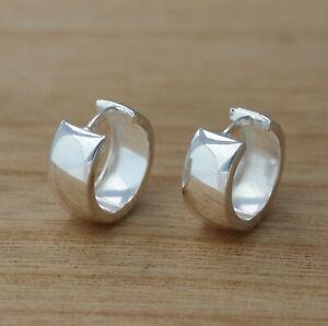 925 Sterling Silver 15mm x 7mm Plain Huggie Hoop Earrings Jewellery