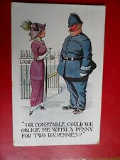 comic postcard policeman oblige me with a penny suffragette colours