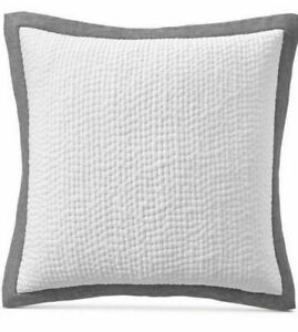 Hotel Collection Cotton Voile Linen (1) EURO Quilted Sham White / Gray NEW