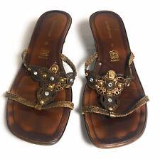 Liz Claiborne Vero Cuoio Heeled Open Toe Sandals Brown Leather Women's Size 8