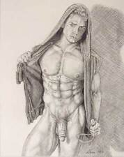 """9"""" x 12"""" drawing print nude male in hoodie with rope interest"""