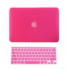 "2 in1 Rubberized HOT PINK Hard Case for Macbook White 13"" A1342 with Key Cover"
