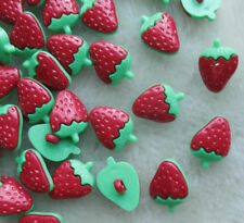 40x Strawberry Plastic Button backhole craft Red F055