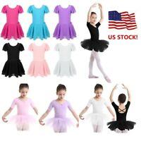 US Girls Ballet Dance Leotard Gymnastics Toddler Tutu Dress Dancewear Costume