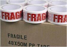 6 rouleaux imprimé rouge fragile forte bande adhésive d'emballage colis 48mm blanc