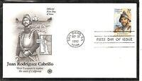 US SC # 2704 Juan Rodriguez Cabrillo FDC. Postal Commemotative Cachet